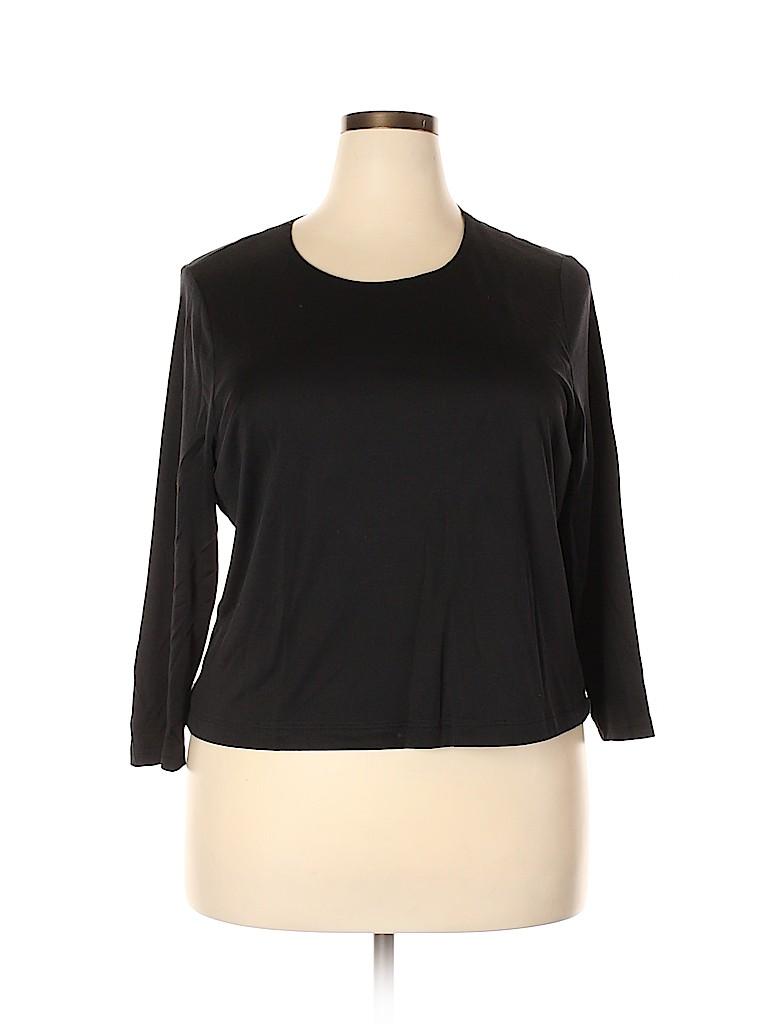 E Emmelle Women Long Sleeve Silk Top Size 1X (Plus)