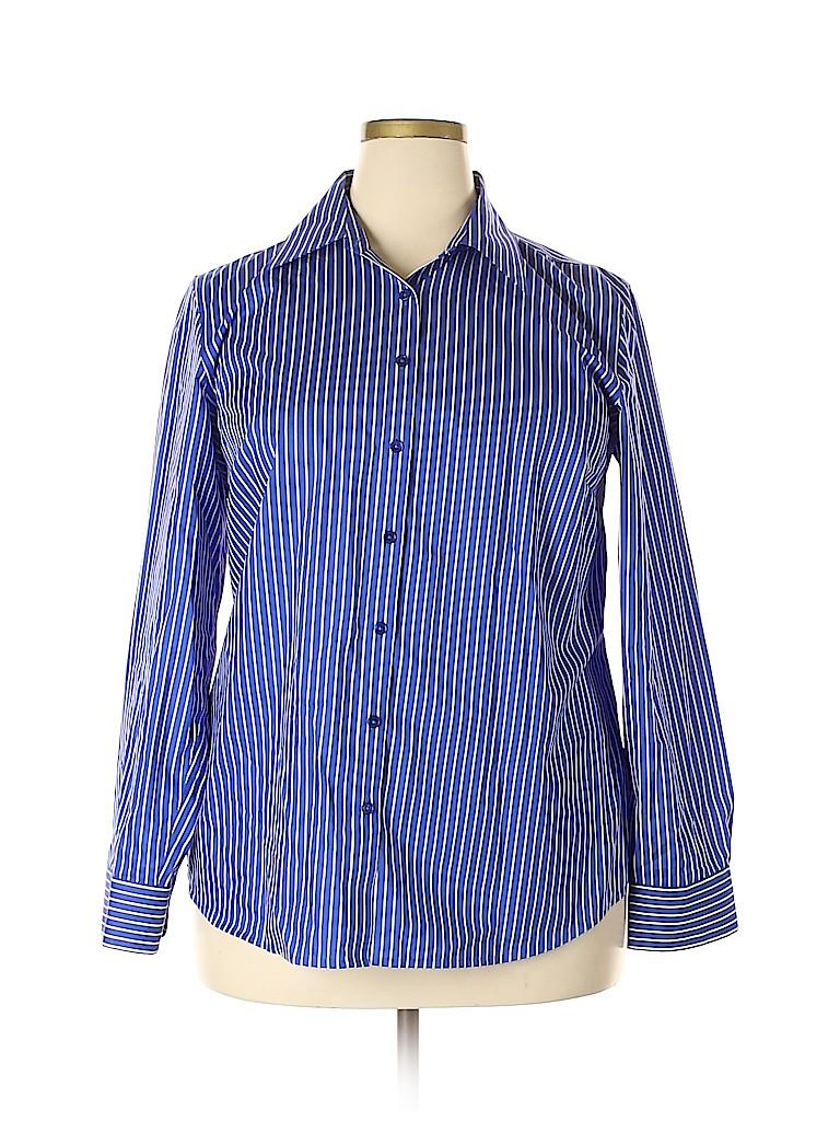 Jones New York Signature Women Long Sleeve Button-Down Shirt Size 1X (Plus)