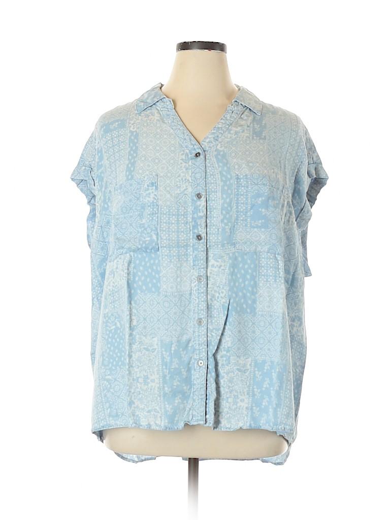 Style&Co Women Short Sleeve Blouse Size 3X (Plus)