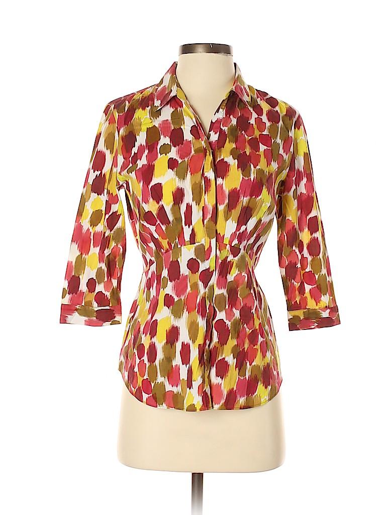Lafayette 148 New York Women 3/4 Sleeve Button-Down Shirt Size 4