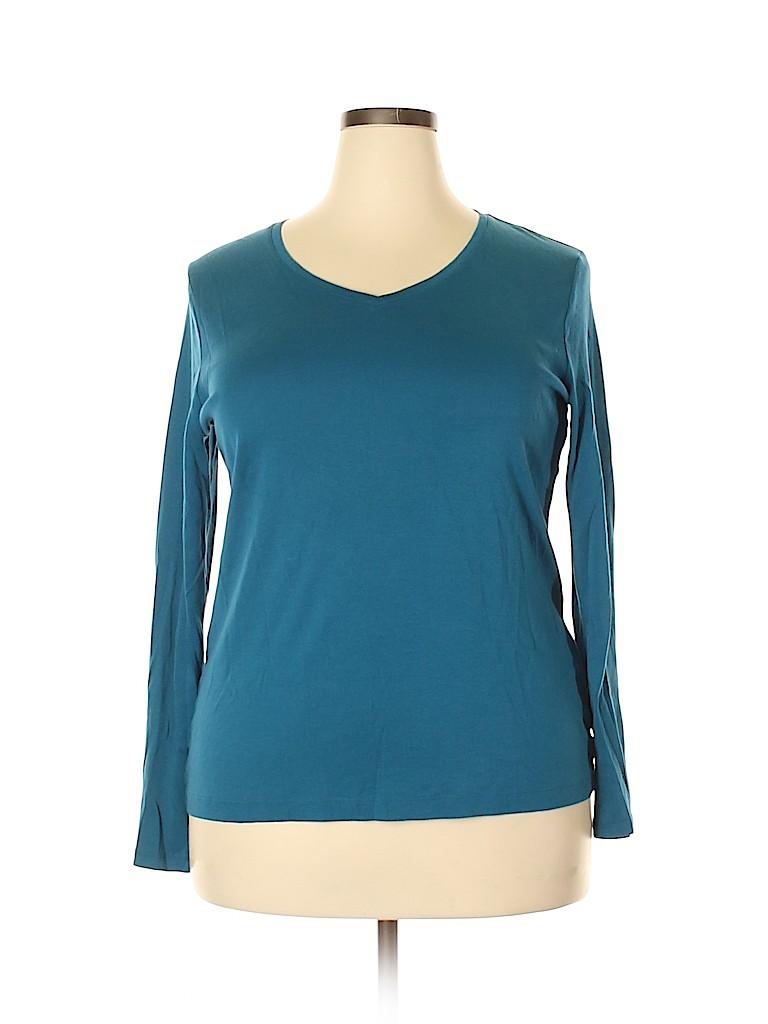 Croft & Barrow Women Long Sleeve T-Shirt Size XXL