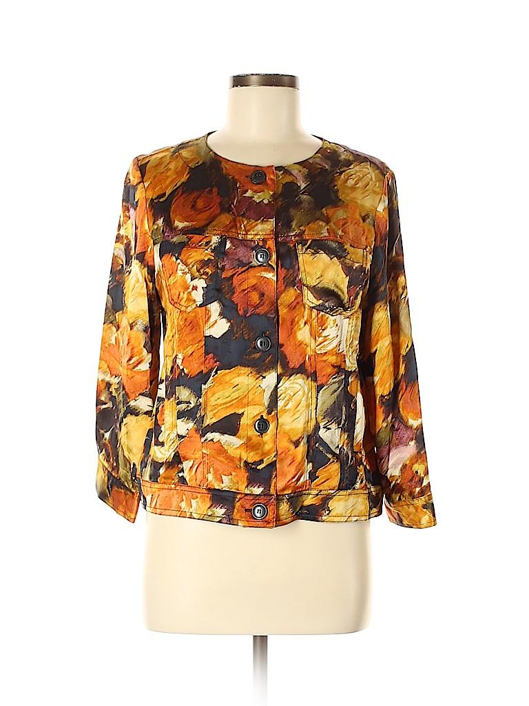 Pendleton Women Long Sleeve Silk Top Size M (Petite)