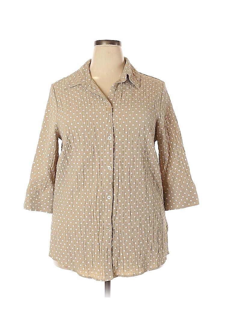 WhiteTag Women 3/4 Sleeve Button-Down Shirt Size 36 (Plus)
