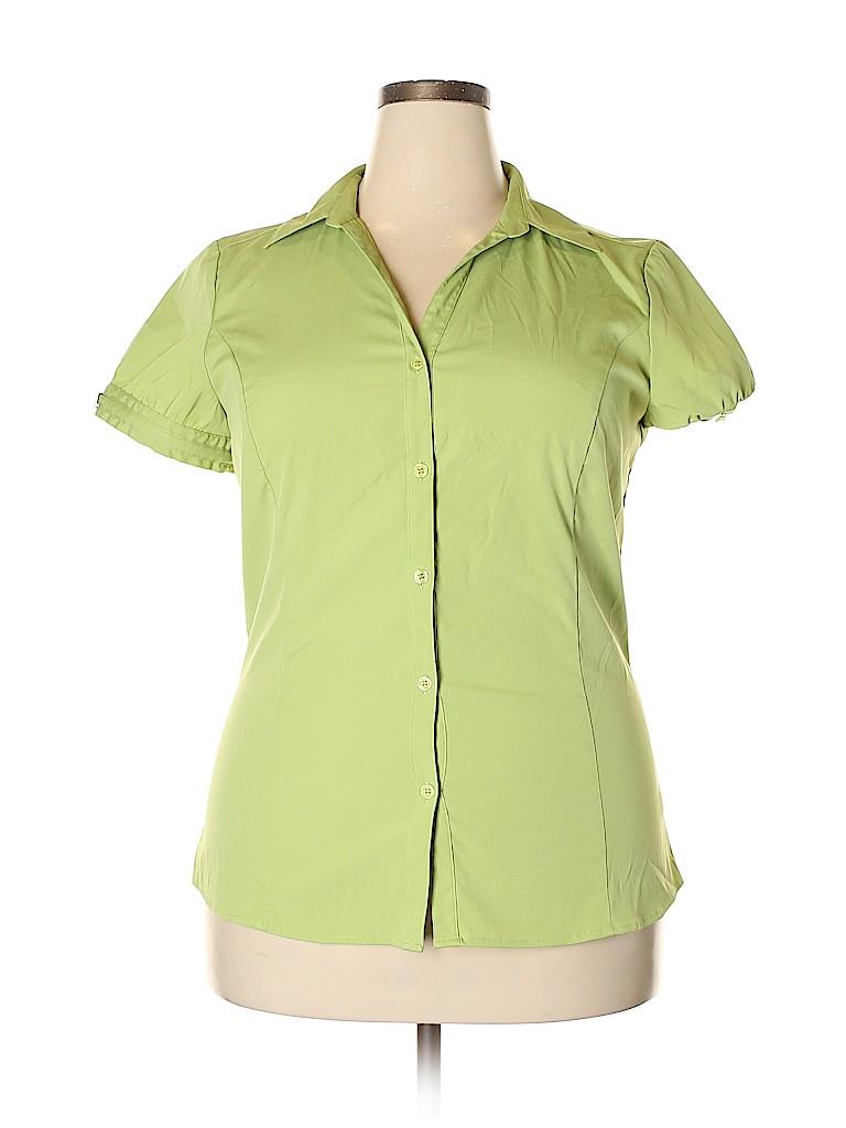 Style&Co Women Short Sleeve Button-Down Shirt Size 16