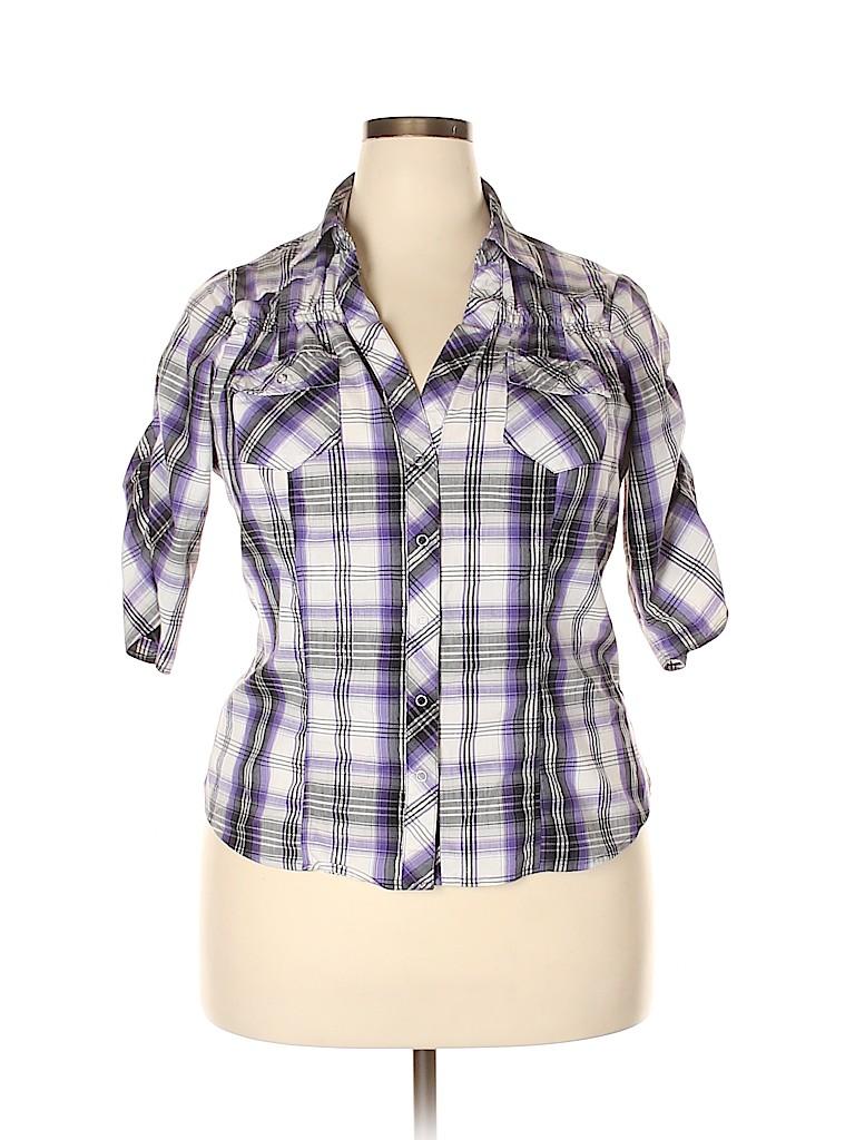 Cotton Express Women 3/4 Sleeve Button-Down Shirt Size 1X (Plus)