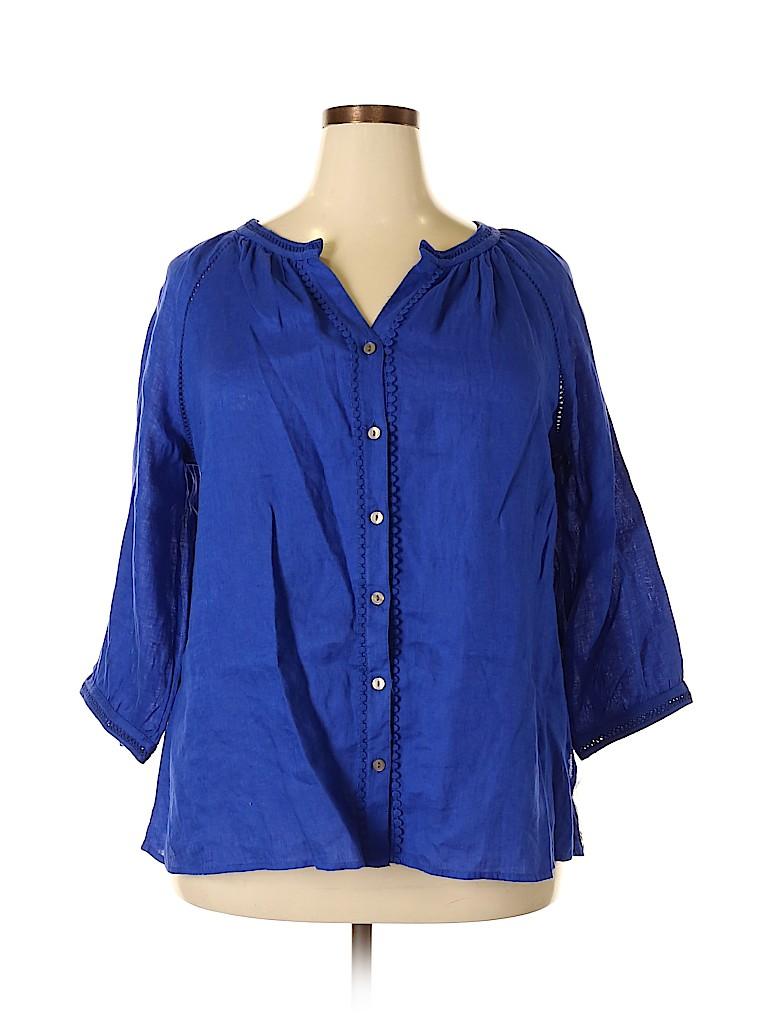 Charter Club Women 3/4 Sleeve Button-Down Shirt Size 1X (Plus)