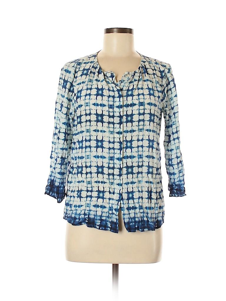Ecru Women 3/4 Sleeve Silk Top Size M