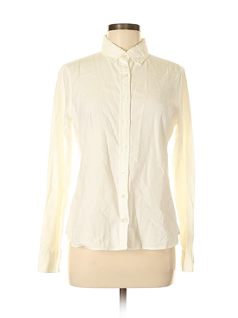 Lands' End Women Long Sleeve Button-Down Shirt Size 10