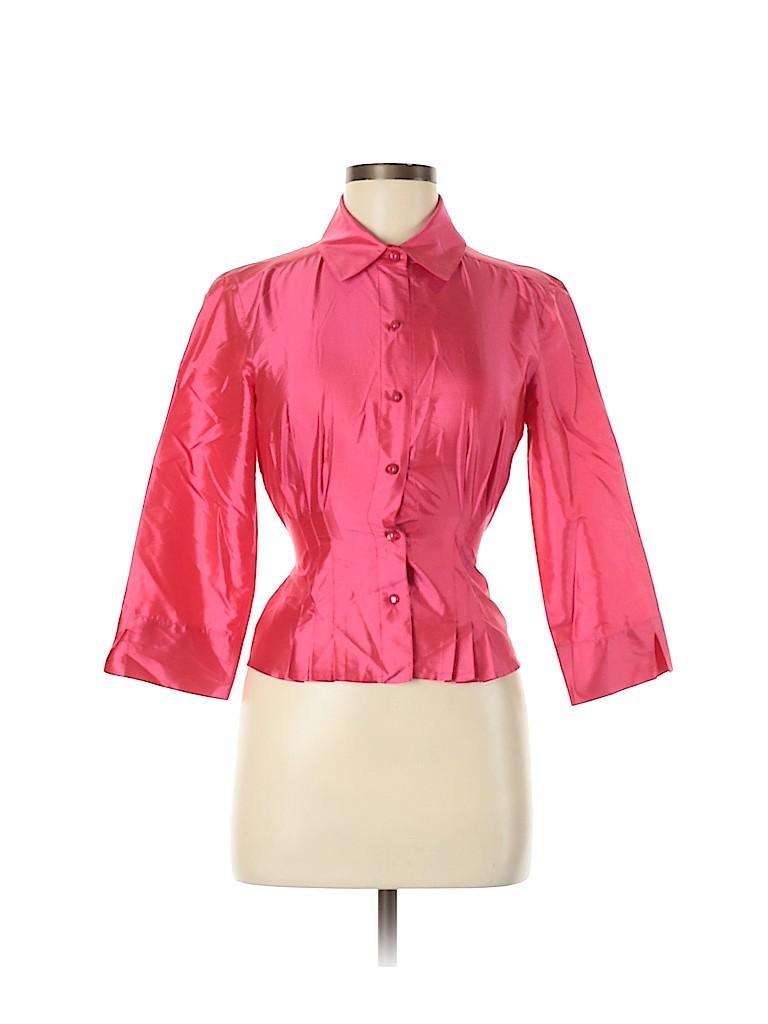 Leggiadro Women Long Sleeve Silk Top Size 4