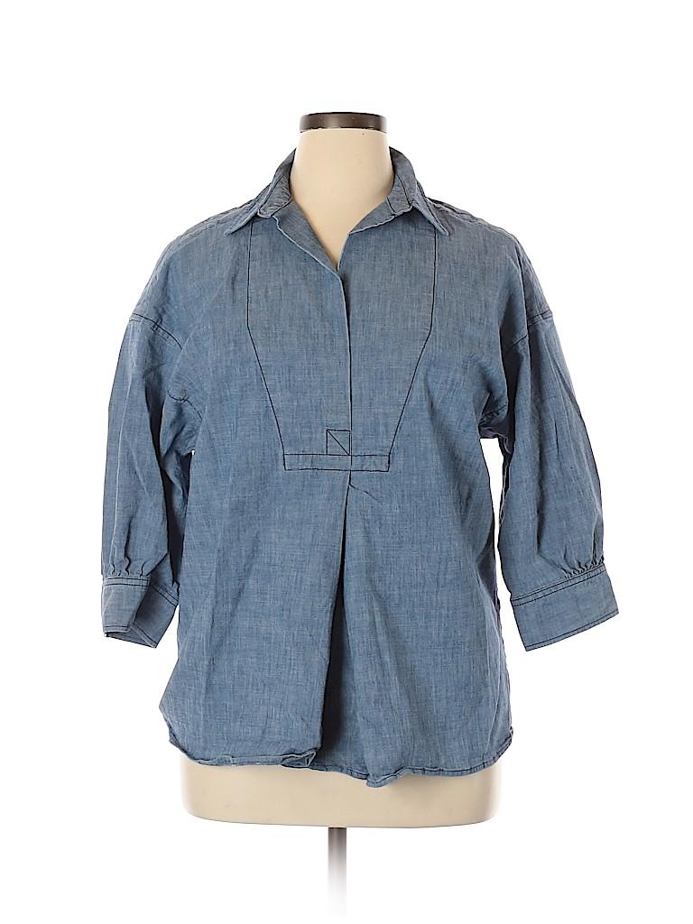 Lands' End Women 3/4 Sleeve Blouse Size 14 (Petite)