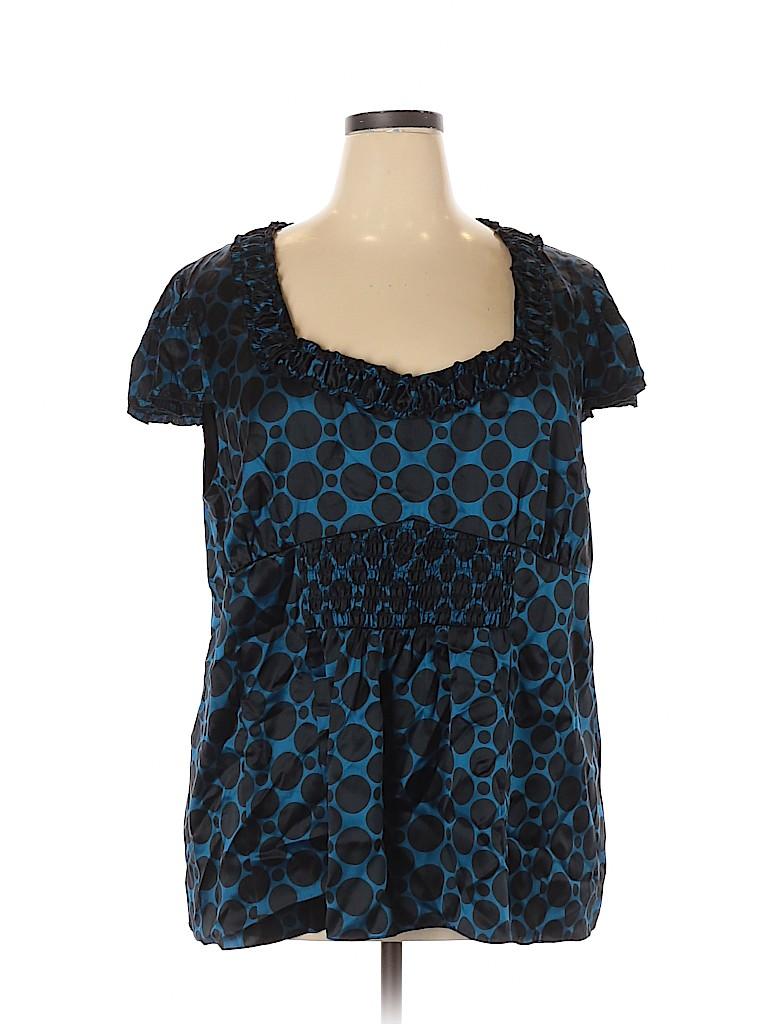 INC International Concepts Women Short Sleeve Silk Top Size 24 (Plus)