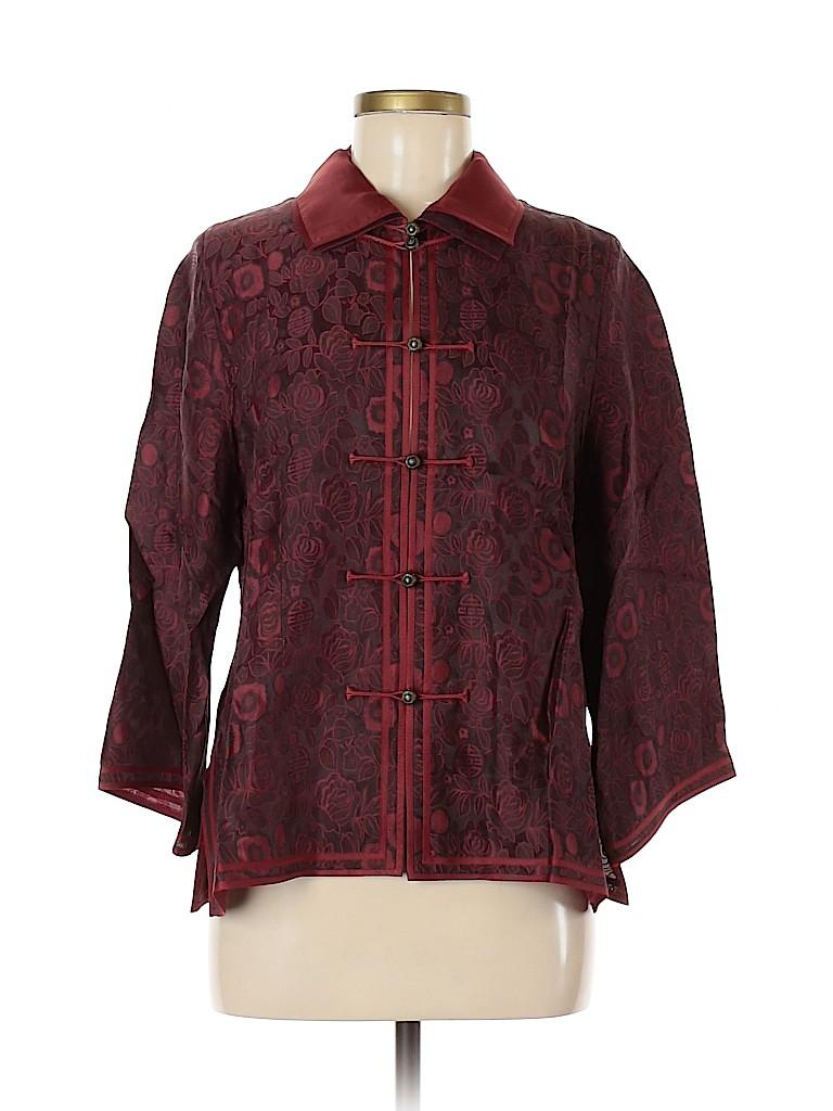 Earthen SIlk Women 3/4 Sleeve Silk Top Size M