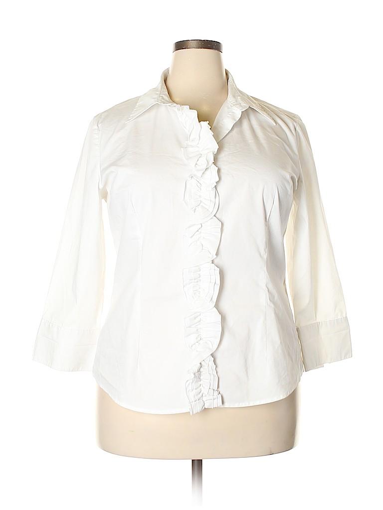 Cato Women Long Sleeve Button-Down Shirt Size XL