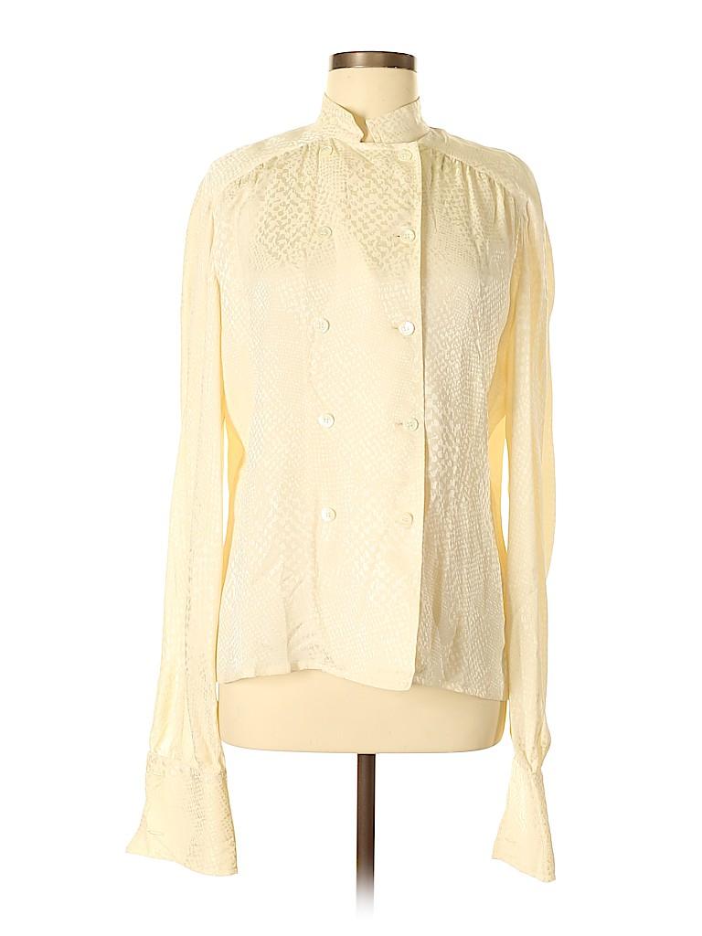 Gucci Women Long Sleeve Silk Top Size 44 (IT)