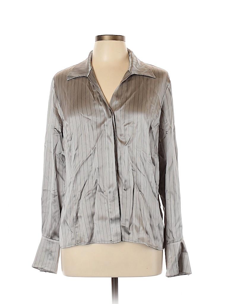 Lafayette 148 New York Women Long Sleeve Silk Top Size 12