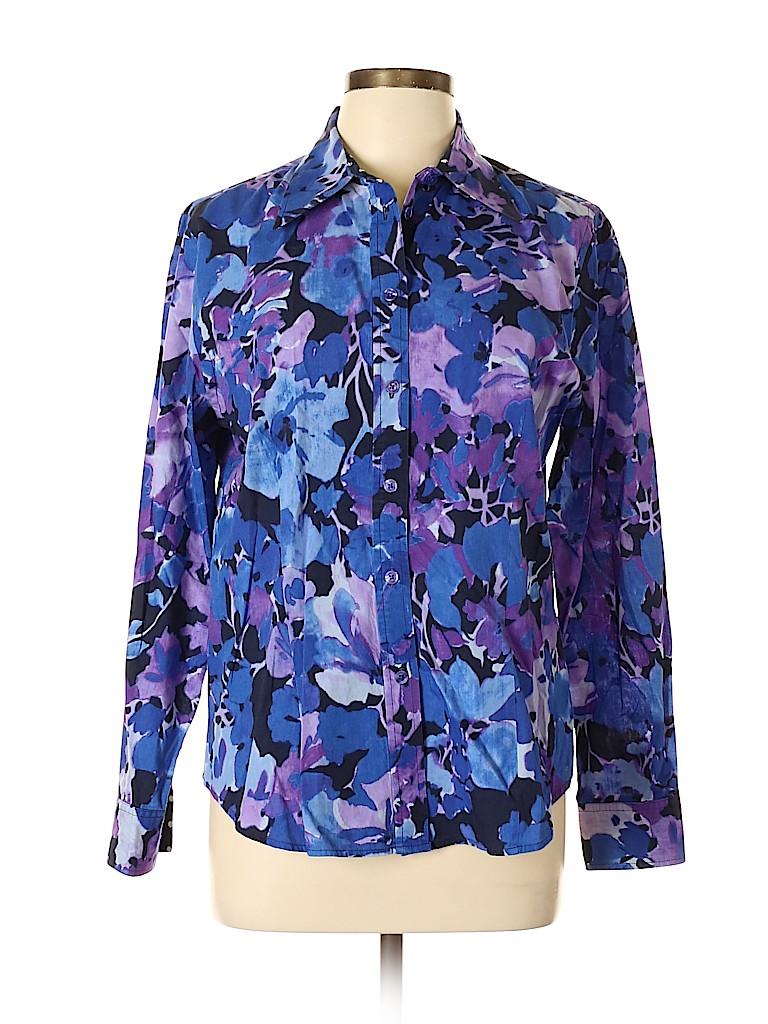 Jones New York Signature Women Long Sleeve Button-Down Shirt Size L