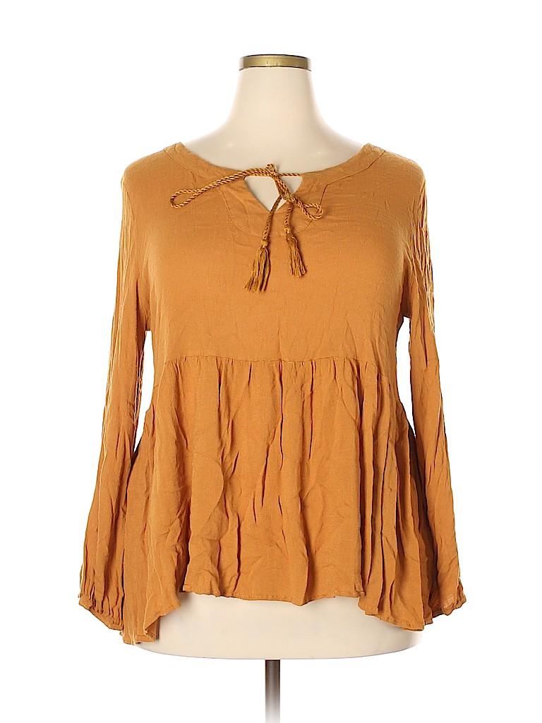Suzanne Betro Women Long Sleeve Blouse Size 3X (Plus)