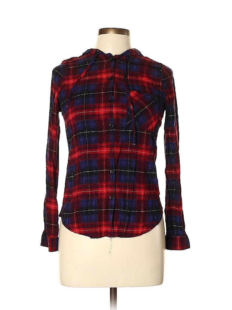 Polly & Esther Women Long Sleeve Button-Down Shirt Size M