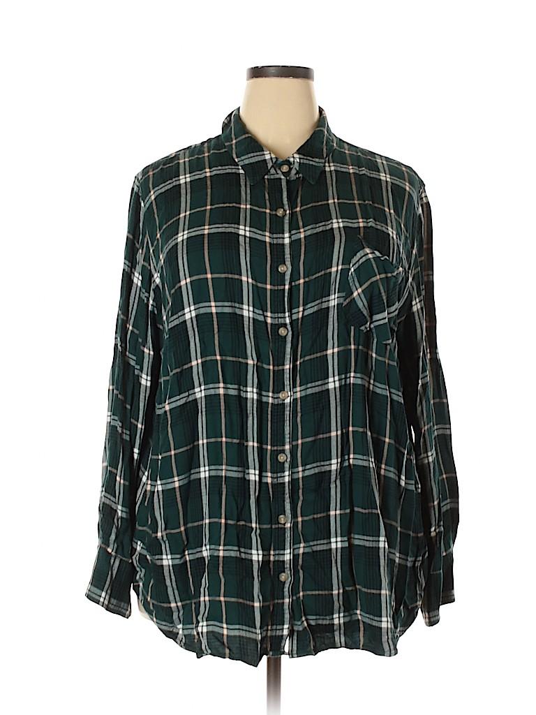 Ava & Viv Women Long Sleeve Button-Down Shirt Size 4X (Plus)