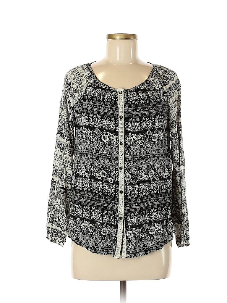 Mystree Women 3/4 Sleeve Button-Down Shirt Size M
