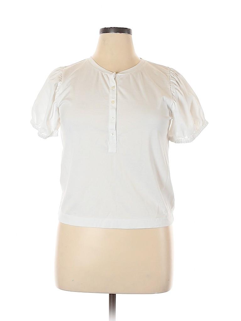 J. Crew Women Short Sleeve Henley Size L