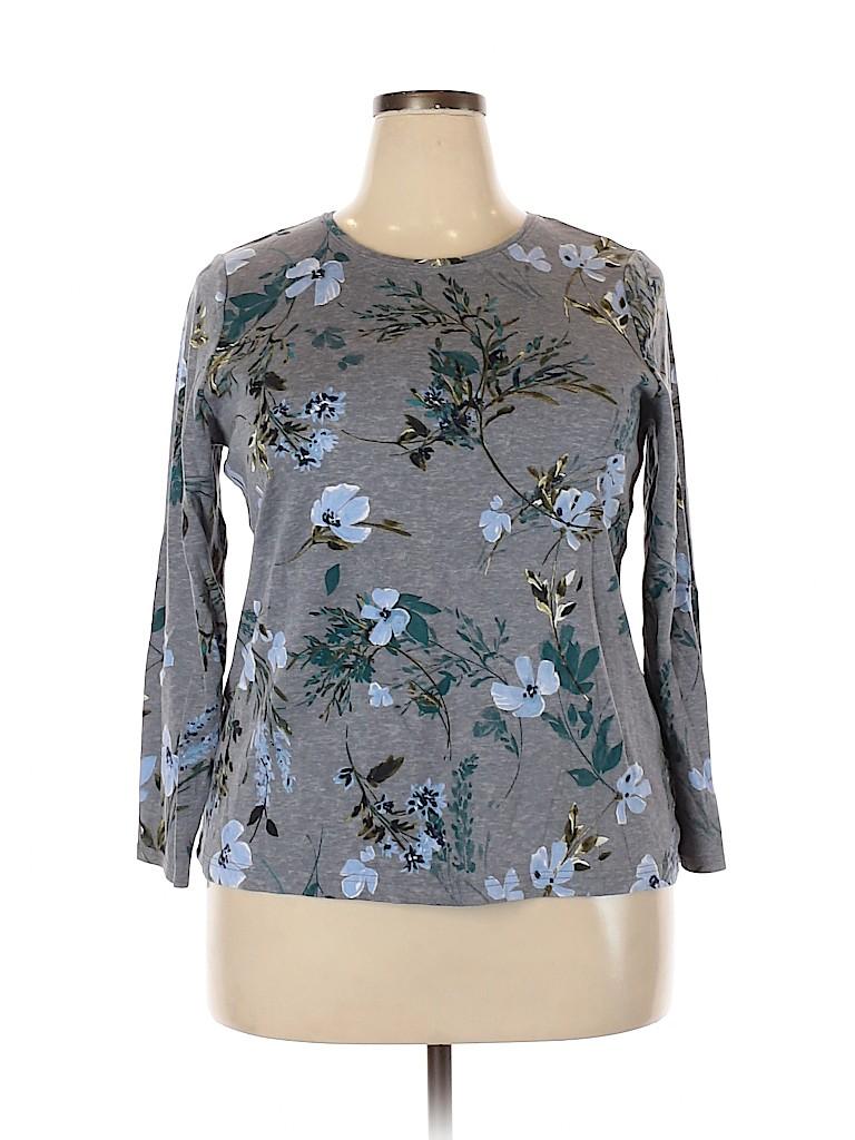 Croft & Barrow Women Long Sleeve T-Shirt Size 1X (Plus)