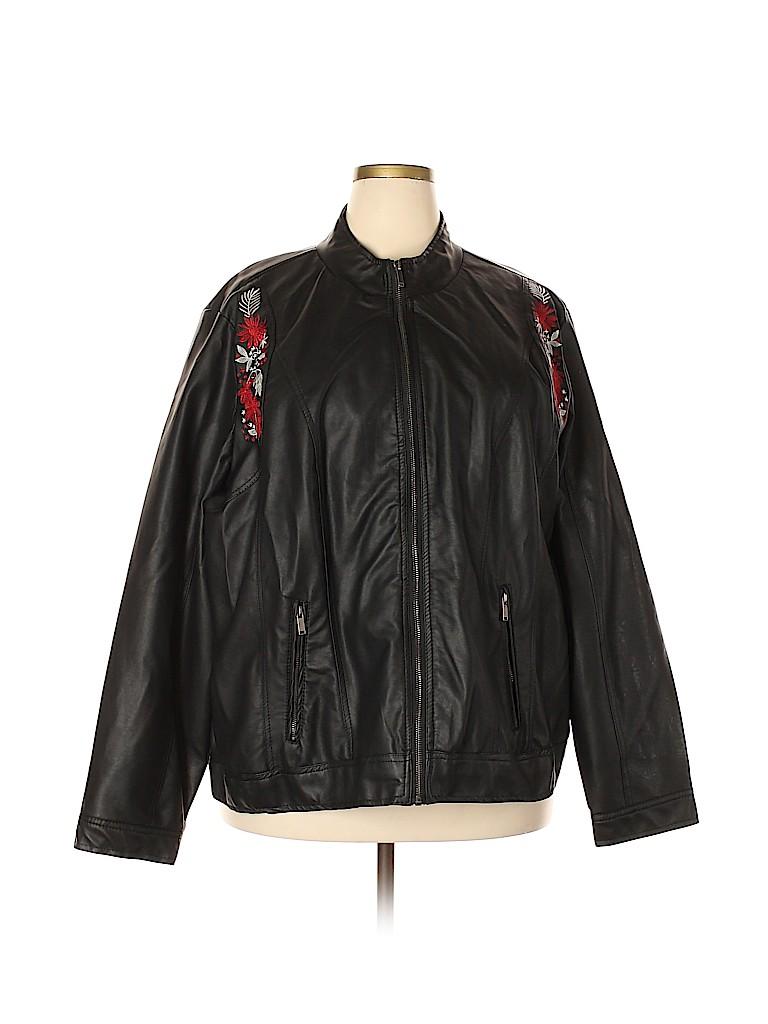 Avenue Women Faux Leather Jacket Size 30 (Plus)