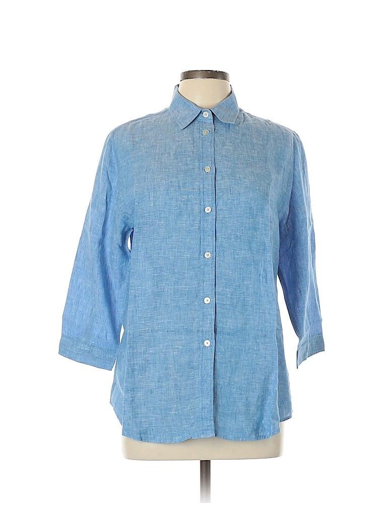 Uniqlo Women 3/4 Sleeve Button-Down Shirt Size L
