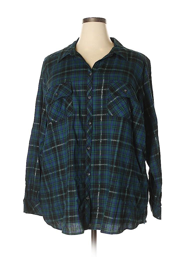 Croft & Barrow Women 3/4 Sleeve Button-Down Shirt Size 3X (Plus)