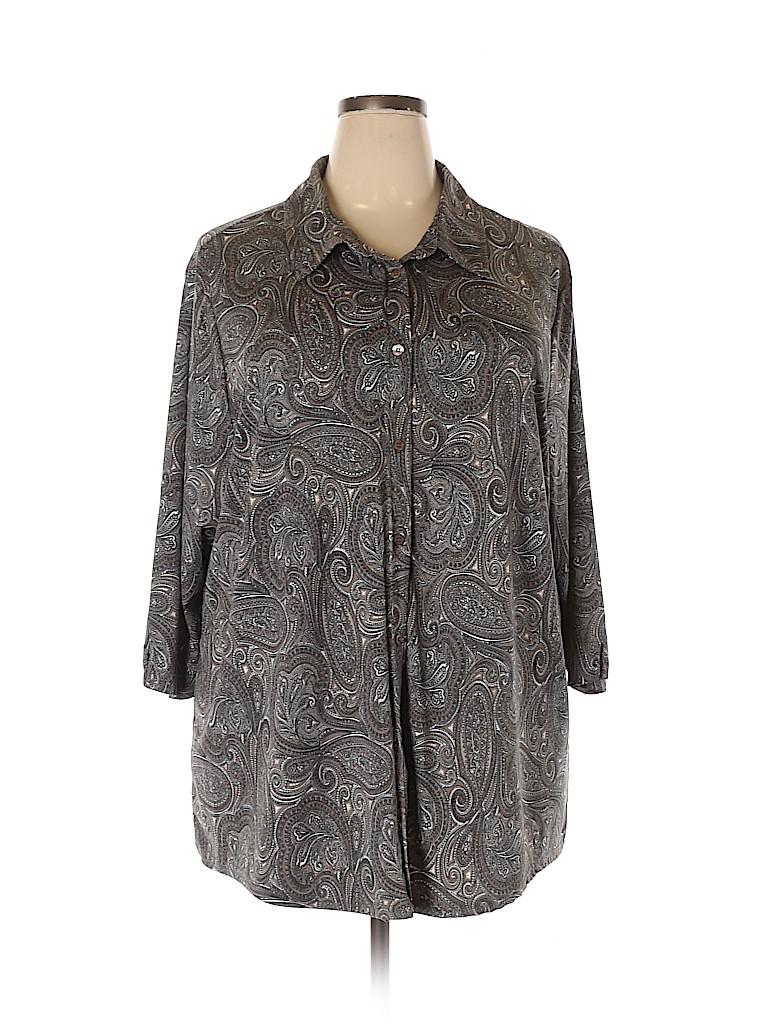 Avenue Women Long Sleeve Button-Down Shirt Size 30 - 32 (Plus)