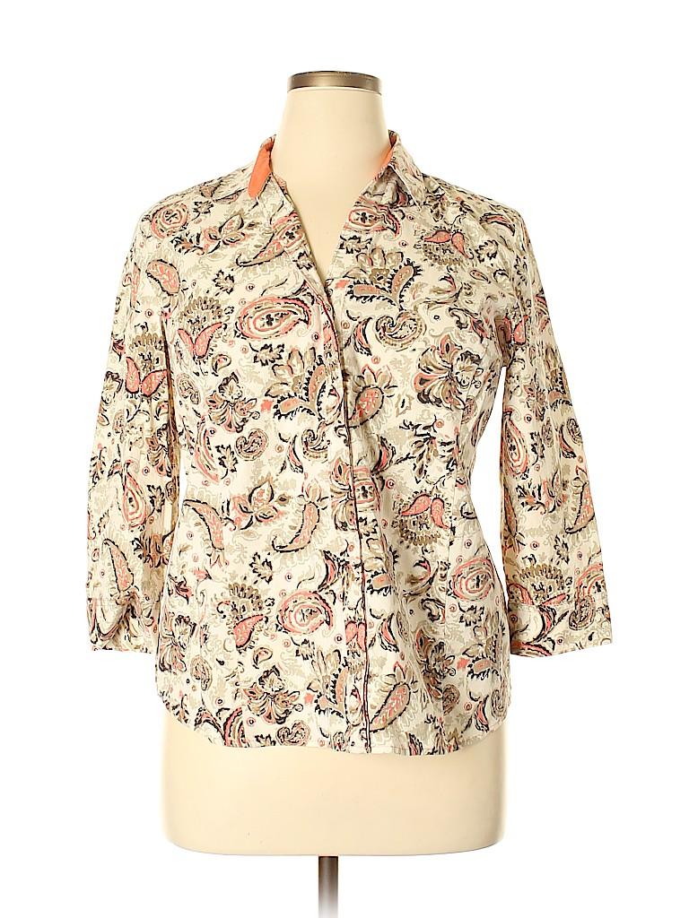 Basic Editions Women 3/4 Sleeve Button-Down Shirt Size XL