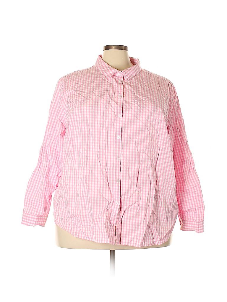 Ellos Women Long Sleeve Button-Down Shirt Size 30 (Plus)