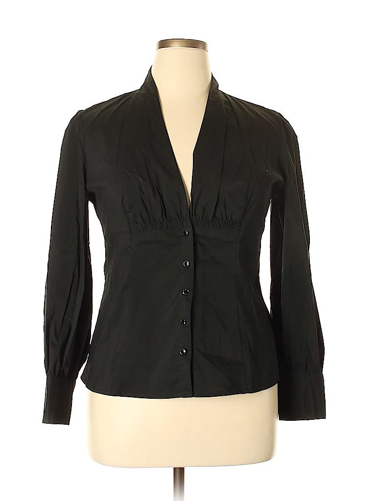 Worthington Women Long Sleeve Button-Down Shirt Size 14