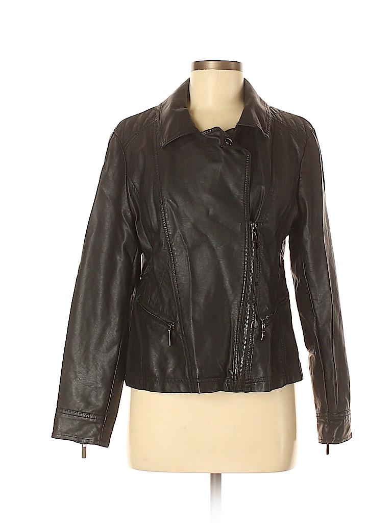 Roz & Ali Women Faux Leather Jacket Size M