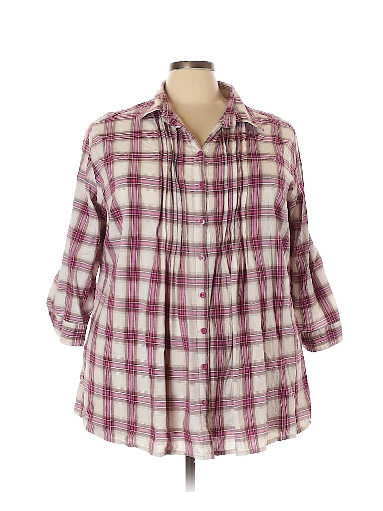 Just My Size Women Long Sleeve Button-Down Shirt Size 4X (Plus)
