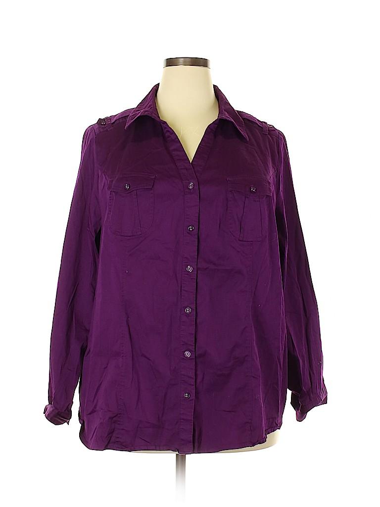Lane Bryant Women Long Sleeve Button-Down Shirt Size 28 (Plus)