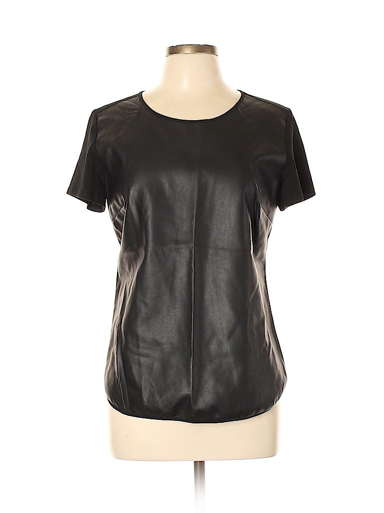 Ann Taylor Factory Women Faux Leather Top Size M