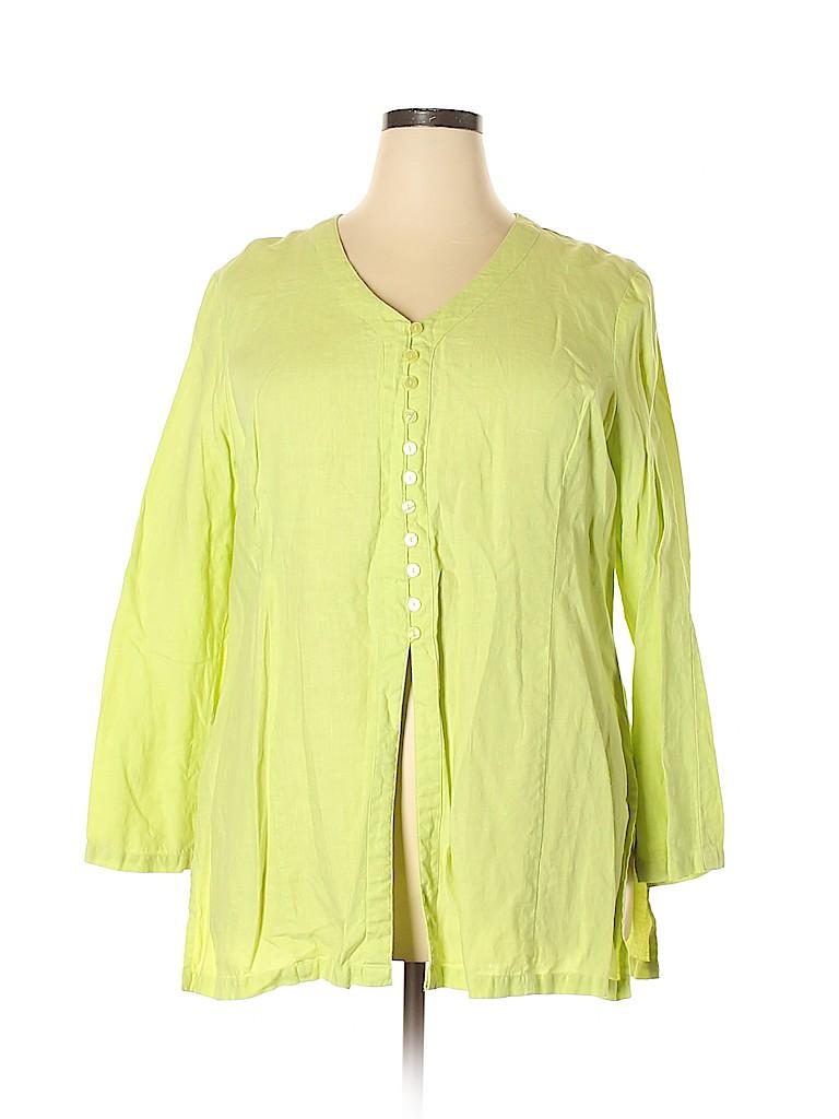 Ishyu Women 3/4 Sleeve Button-Down Shirt Size 2X (Plus)
