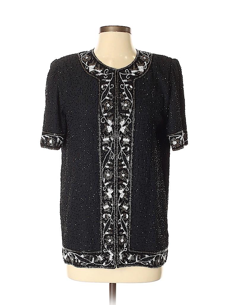 Lawrence Kazar Women Short Sleeve Blouse Size S