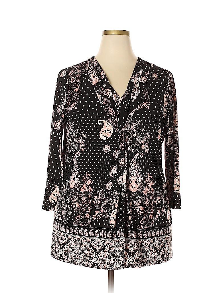 Roz & Ali Women 3/4 Sleeve Blouse Size 2X (Plus)