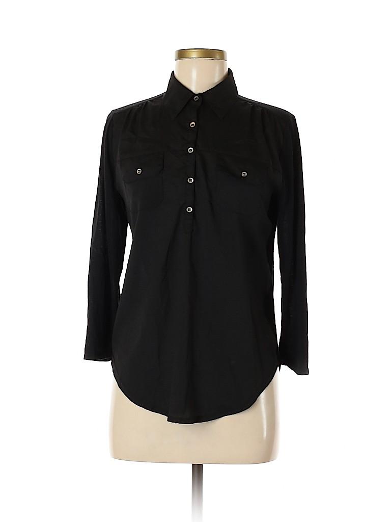 Eyeshadow Women 3/4 Sleeve Button-Down Shirt Size M