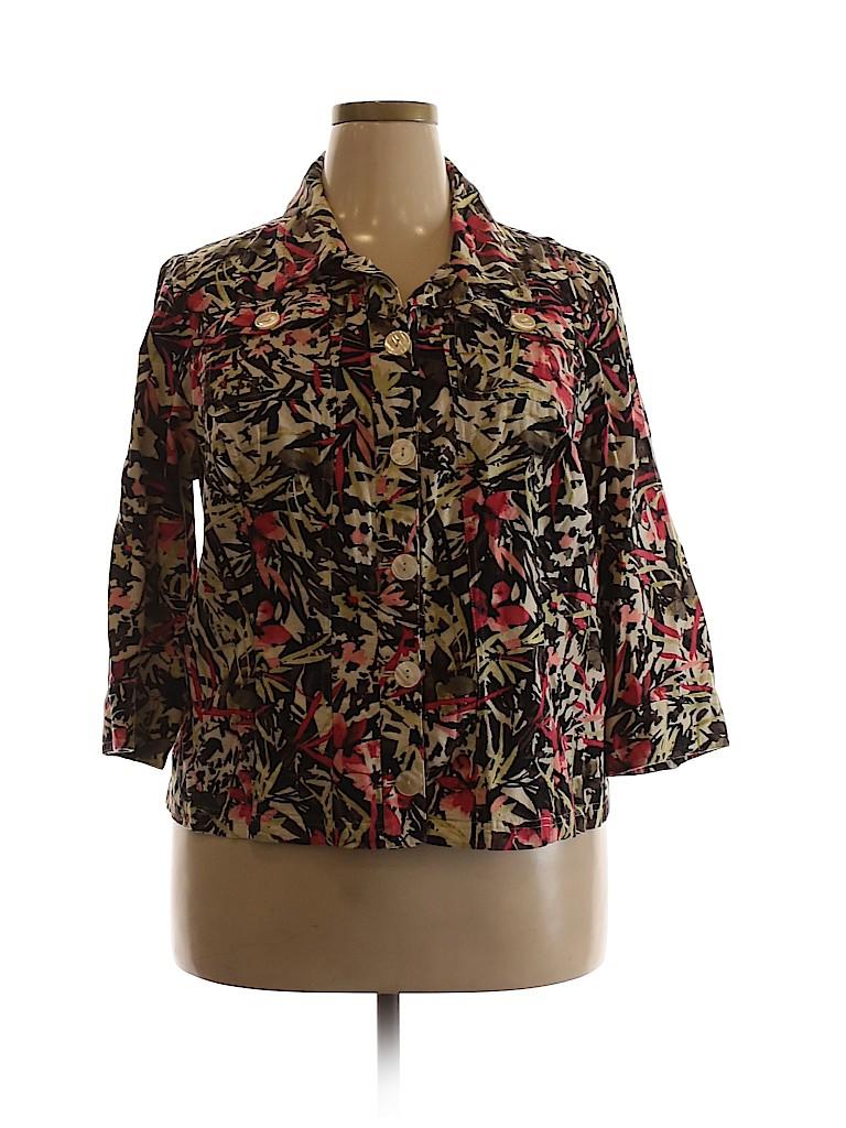 Cj Banks Women 3/4 Sleeve Button-Down Shirt Size 1X (Plus)