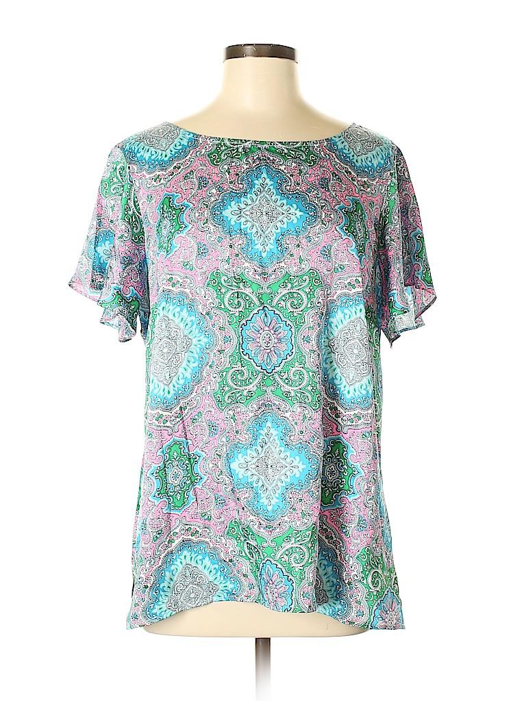 Talbots Women Short Sleeve Blouse Size L