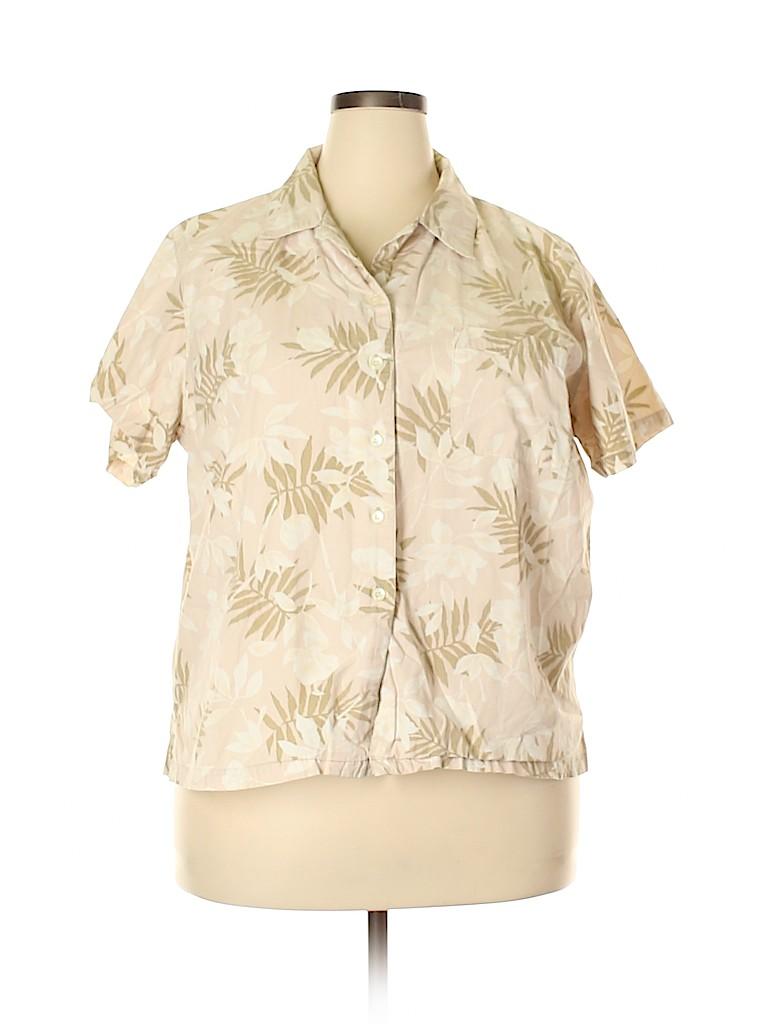 Cherokee Women Short Sleeve Button-Down Shirt Size 22 (Plus)