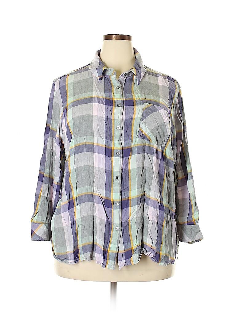 Ava & Viv Women Long Sleeve Button-Down Shirt Size 3X (Plus)