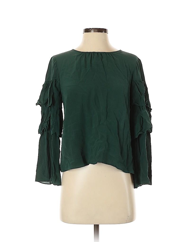 Madewell Women Long Sleeve Silk Top Size S