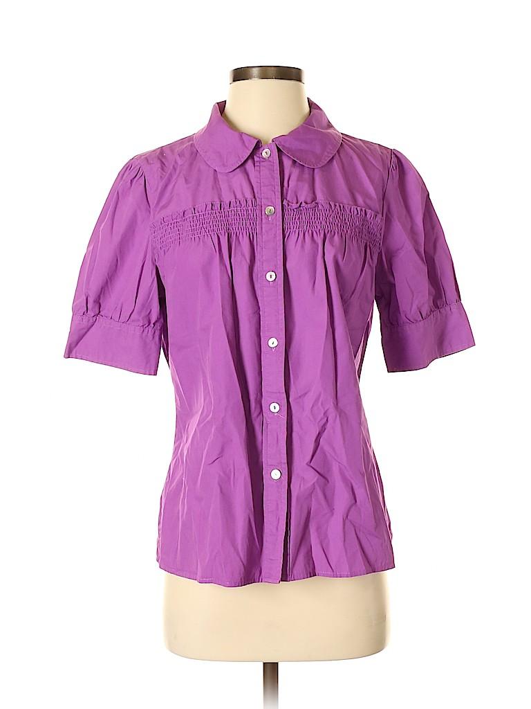 Madison Women Short Sleeve Button-Down Shirt Size M