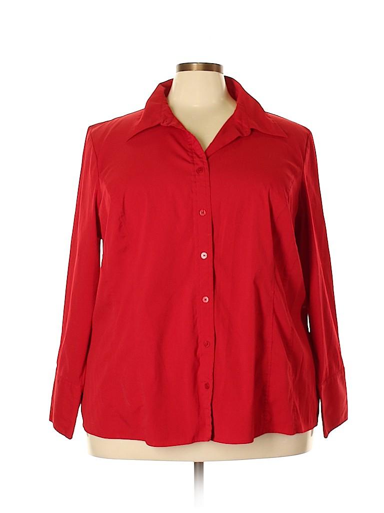 Lane Bryant Women Long Sleeve Button-Down Shirt Size 26 (Plus)