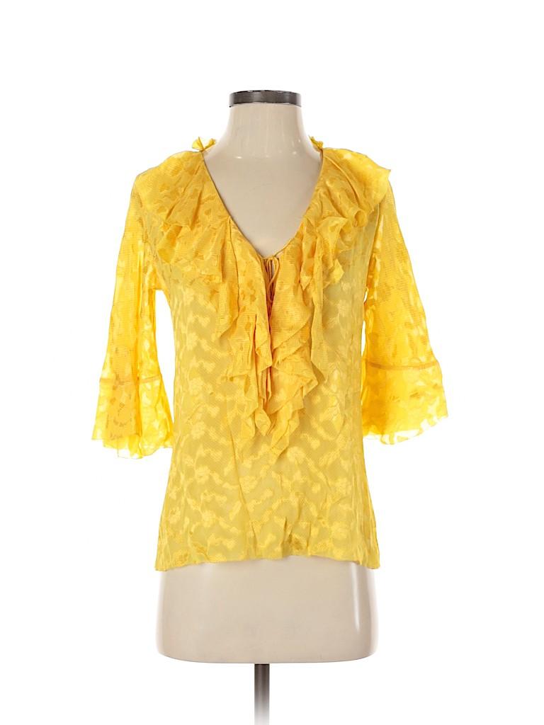 Diane von Furstenberg Women 3/4 Sleeve Silk Top Size 0