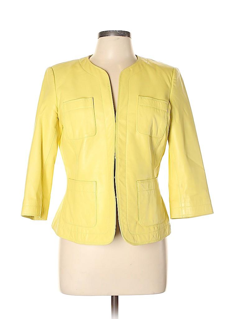 Dana Buchman Women Leather Jacket Size 10 (Petite)